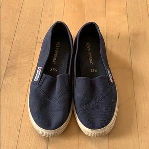 Superha cotu blue slip on 37.5